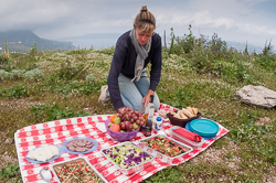 A photo of a typical picnic on a tour in Crete